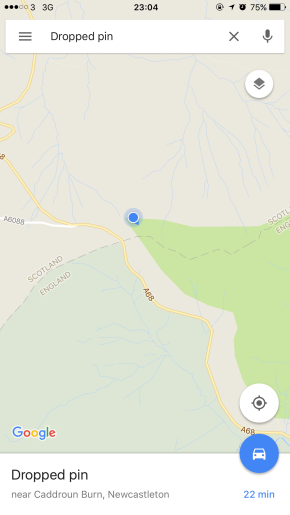 Our tent (the blue dot).