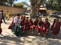 Lewis with little monks in Burma.